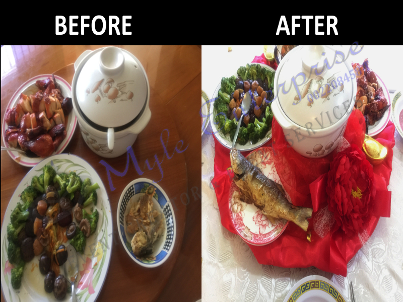 CNY Table Decoration Before After